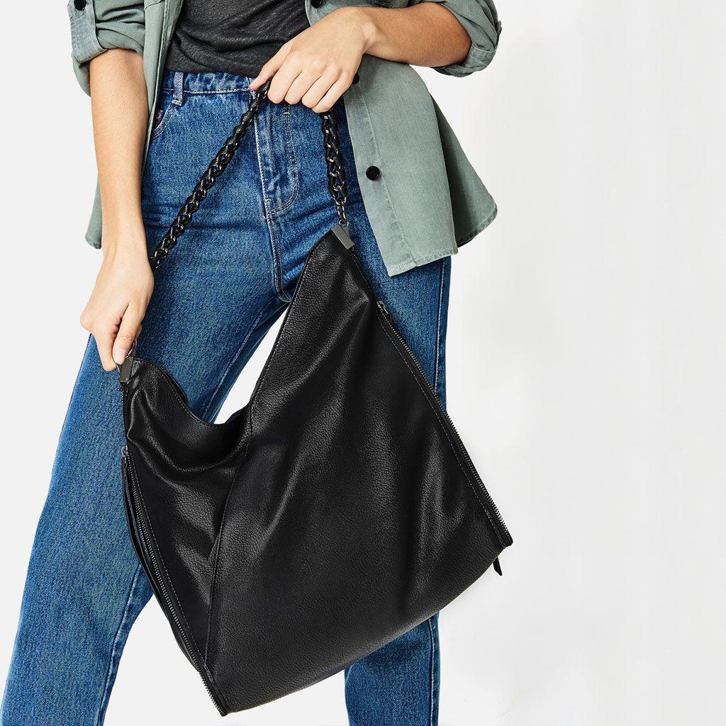 Chain Detail Bucket Bag Large Handbags Bags Woman Zara