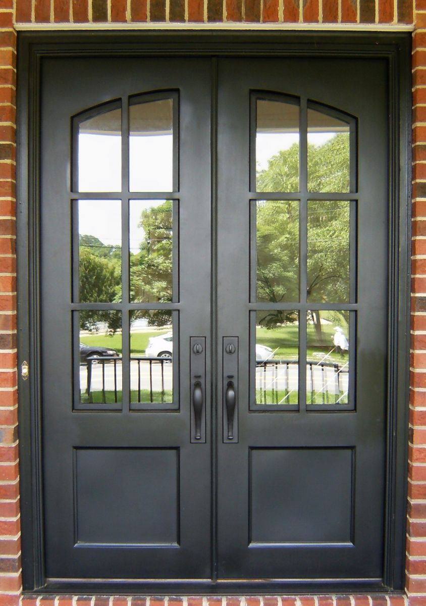 Iron divided light double door clark hall iron doors for Southern crafted homes inventory