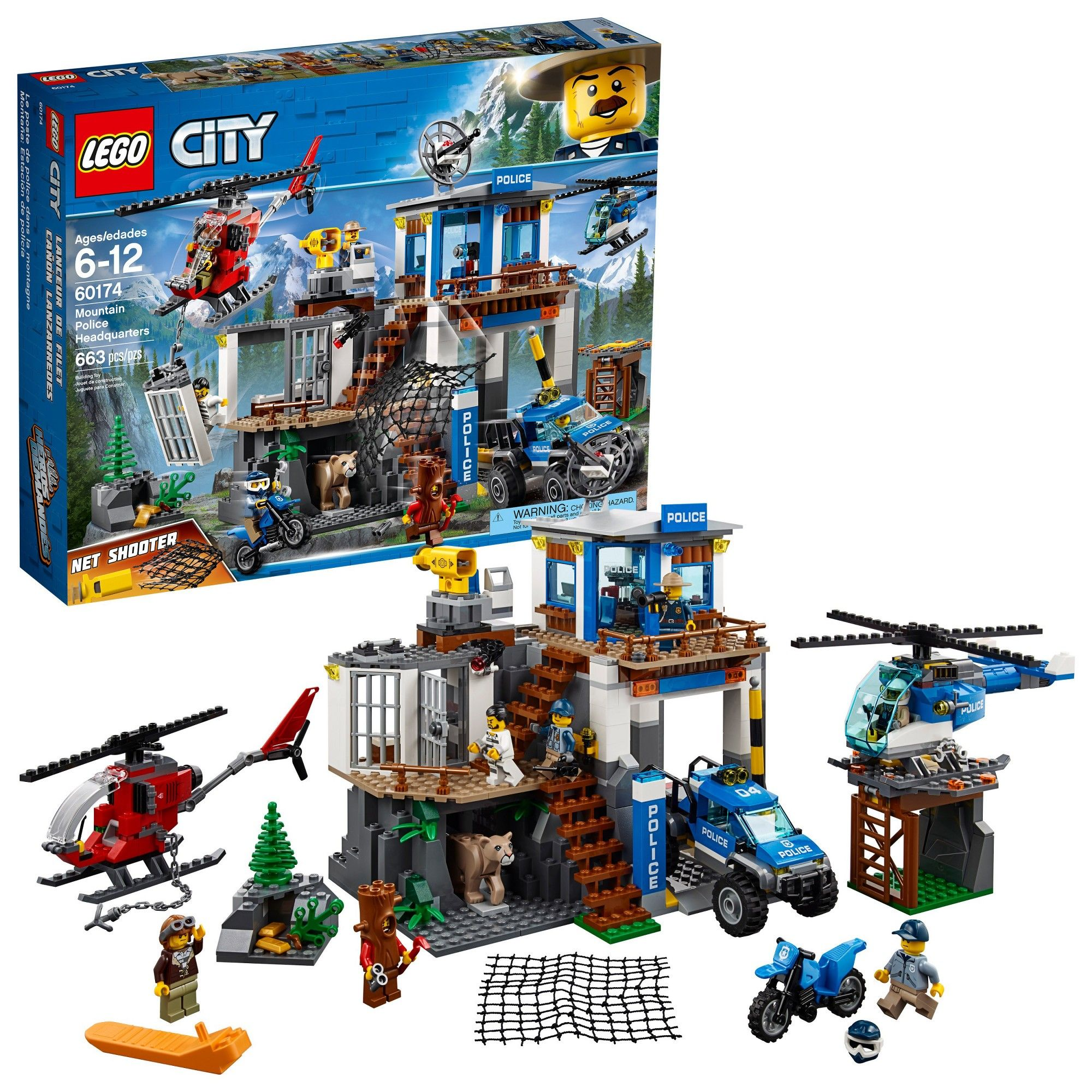 jouet hélicoptère et 4 Lego 60174 city police Mountain Headquarters Building Set