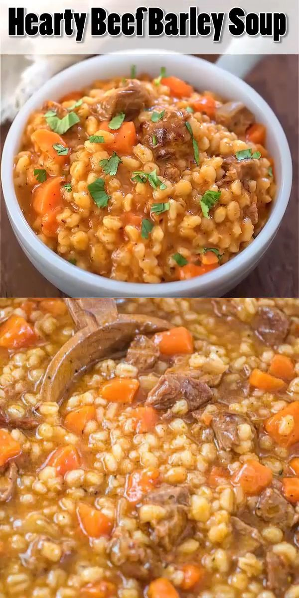 This Hearty Beef Barley Soup is a restaurant-worthy, absolutely delicious, easy-to-make and filling meal. Made with only 8 ingredients, less than 30 minutes of active cooking time, and minimal cleanup, it will feed the whole family!  beef  barley  soup  stew  dinner  recipe  winter  fall  onepot  recipeoftheday  hearty