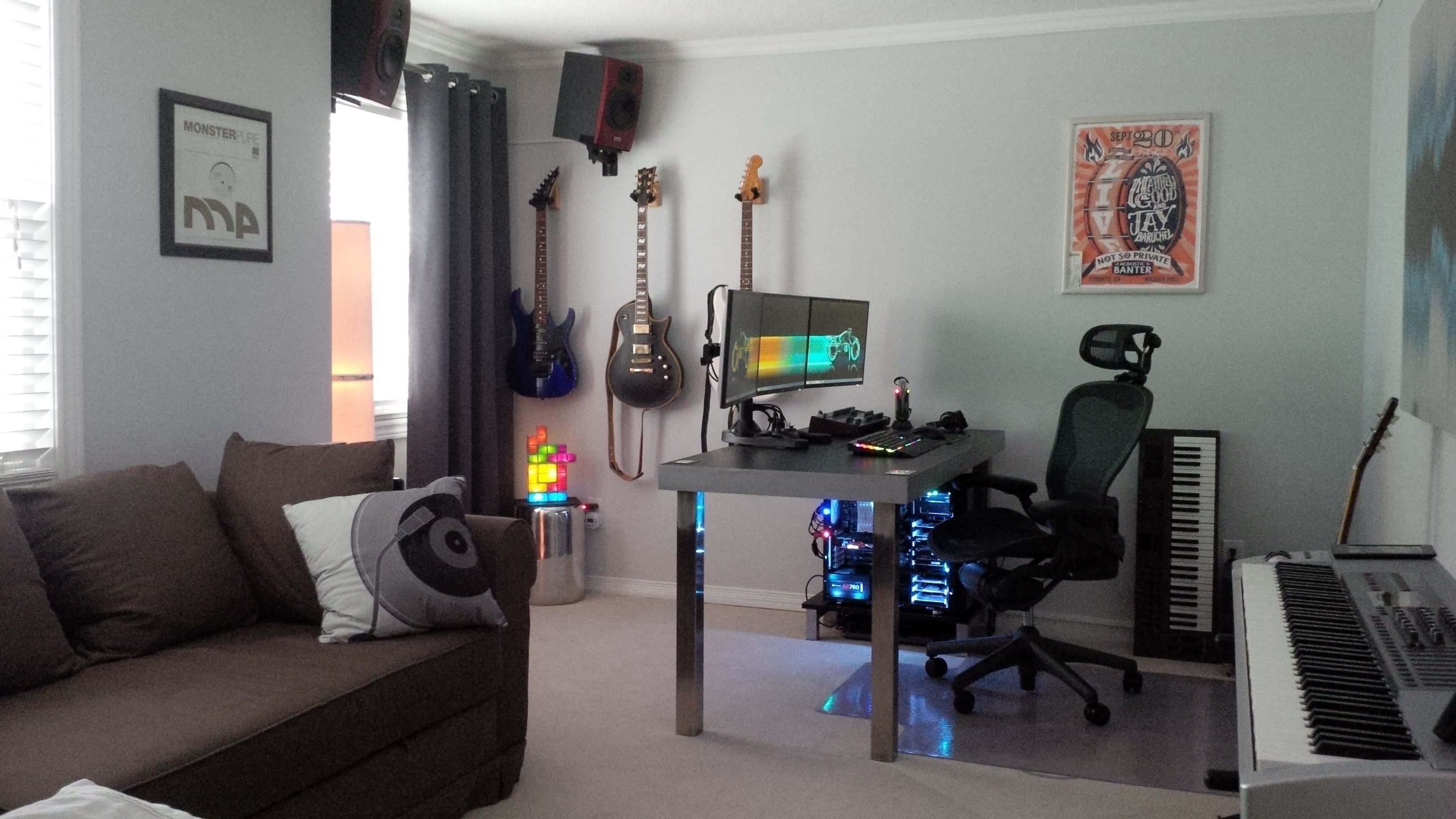 Apartment Decorating Reddit gaming and music studio/office via reddit user revlogic | gaming