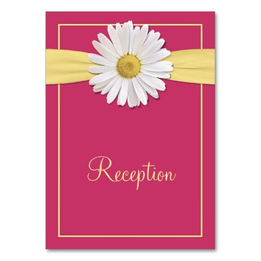 Watermelon Pink and Yellow Daisy Reception Cards Business Card