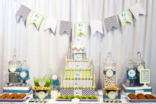 Baby Shower Decoracion Niño ~ Decoración de baby shower en azul marino y verde lima baby shower