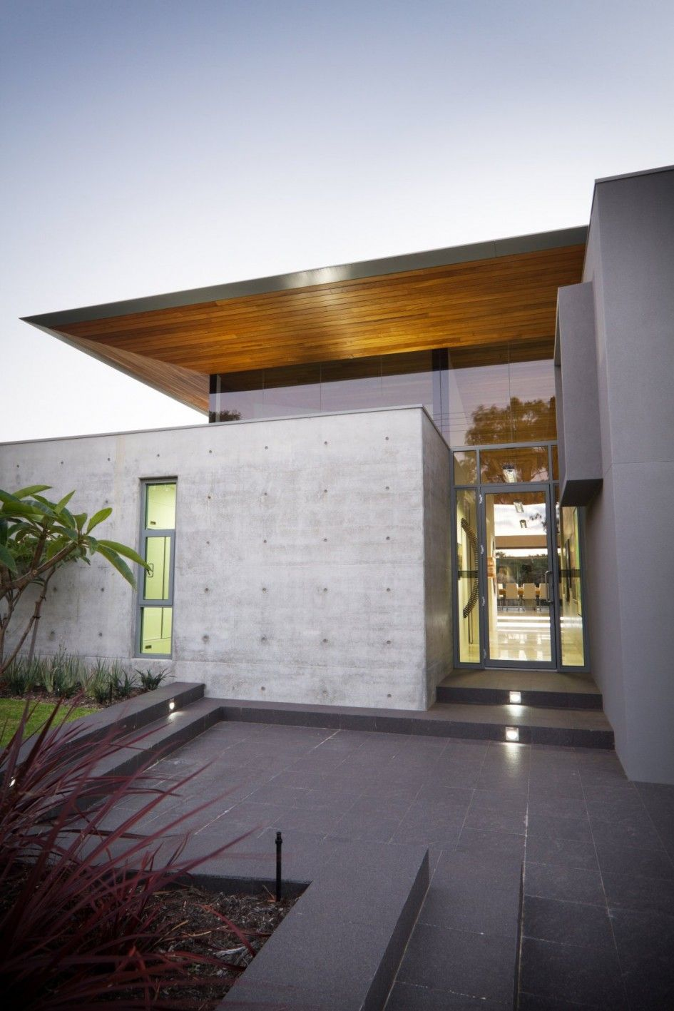Architecture, Magnificent Home Design With Chic Wooden Roof And Minimalist  Concrete Wall Exposed Also Glass. Glass Front DoorFront ...