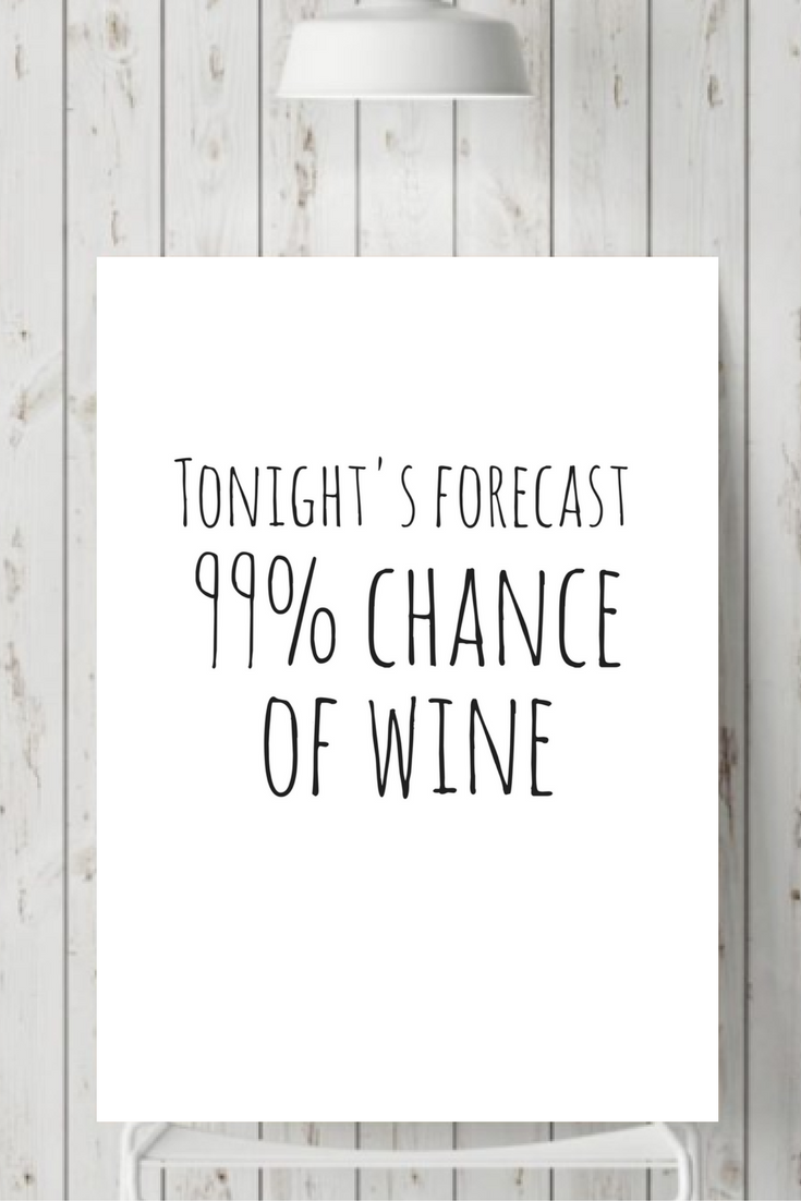 Tonight S Forecast 99 Chance Of Wine Printable Wine Quote Wall Print Funny Prints Wine Humor Print Wine Quotes Wine Humor Tonight S Forecast
