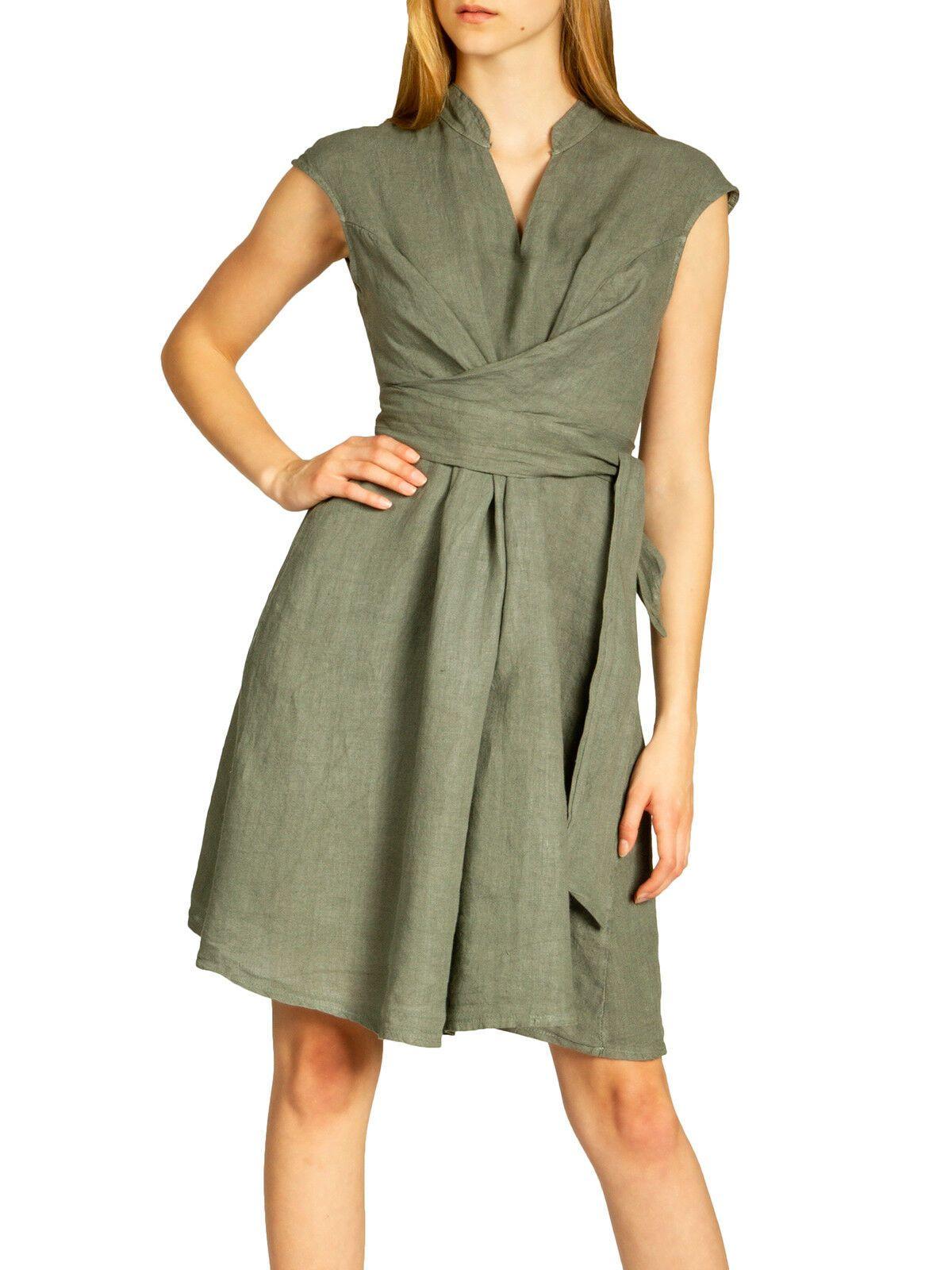 casar skl016 damen sommer kleid leinenkleid knielang elegant