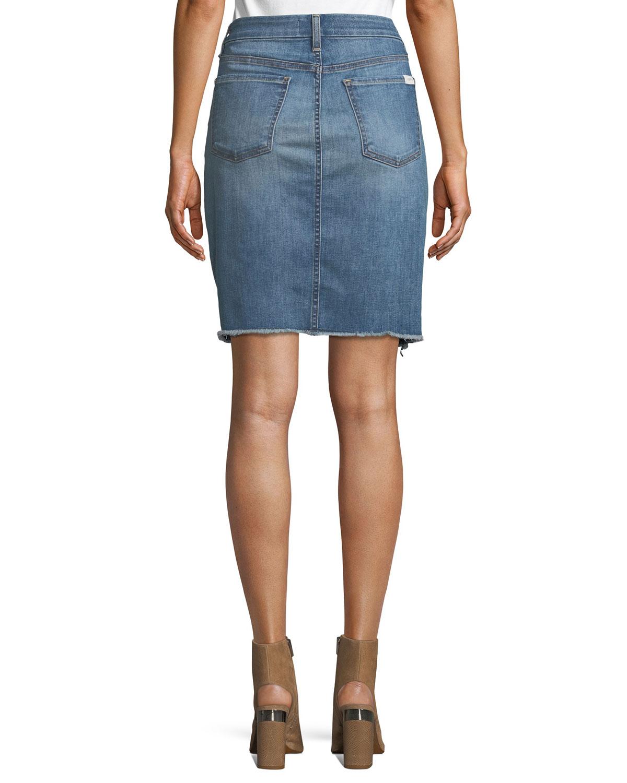 6ae9c530ac Jen7 by 7 for All Mankind Denim Pencil Skirt w/ Frayed Hem ...