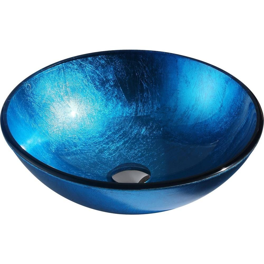 Anzzi Arc Series Deco Glass Vessel Sink In Lustrous Light Blue Ls
