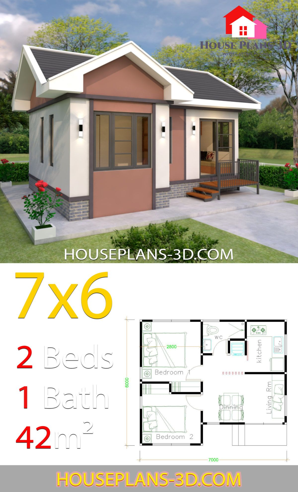 House Plans Design 7x6 With 2 Bedrooms Gable Roof House Plans 3d Small House Design Plans Gable Roof House House Plans