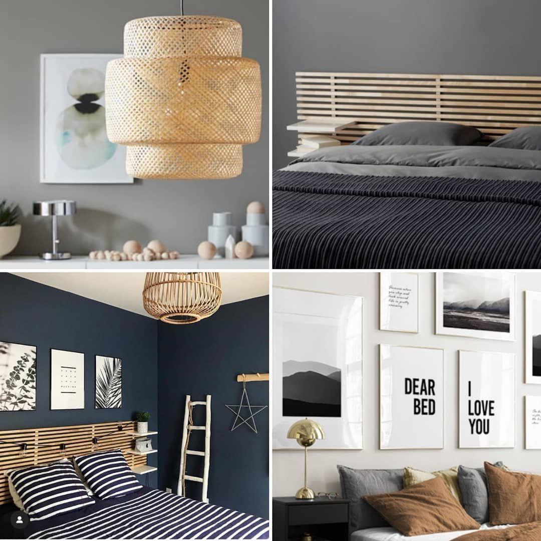 | Schlafzimmerinspo #gutenmorgen |  Hallo ihr Lieben, ob klassisches Bett mit Lattenrost, Wasserbett oder doch ein Boxspringbett - wir wollen uns auf jeden Fall von unserem Boxspringbett auf dem Weg ins Wohnglück verabschieden. • Wem gehts es ähnlich? Habt ihr euch schon entschieden? • Uns hat es aktuell so ein schönes selfmade Kopfteil, eine dunkle Wand sowie eine gemütliche Lampe fürs Schlafzimmer angetan. Leider verkauft Ikea #unbezahlteWerbung ja leider das Mandal Kopfteil nicht meh #dunklewände