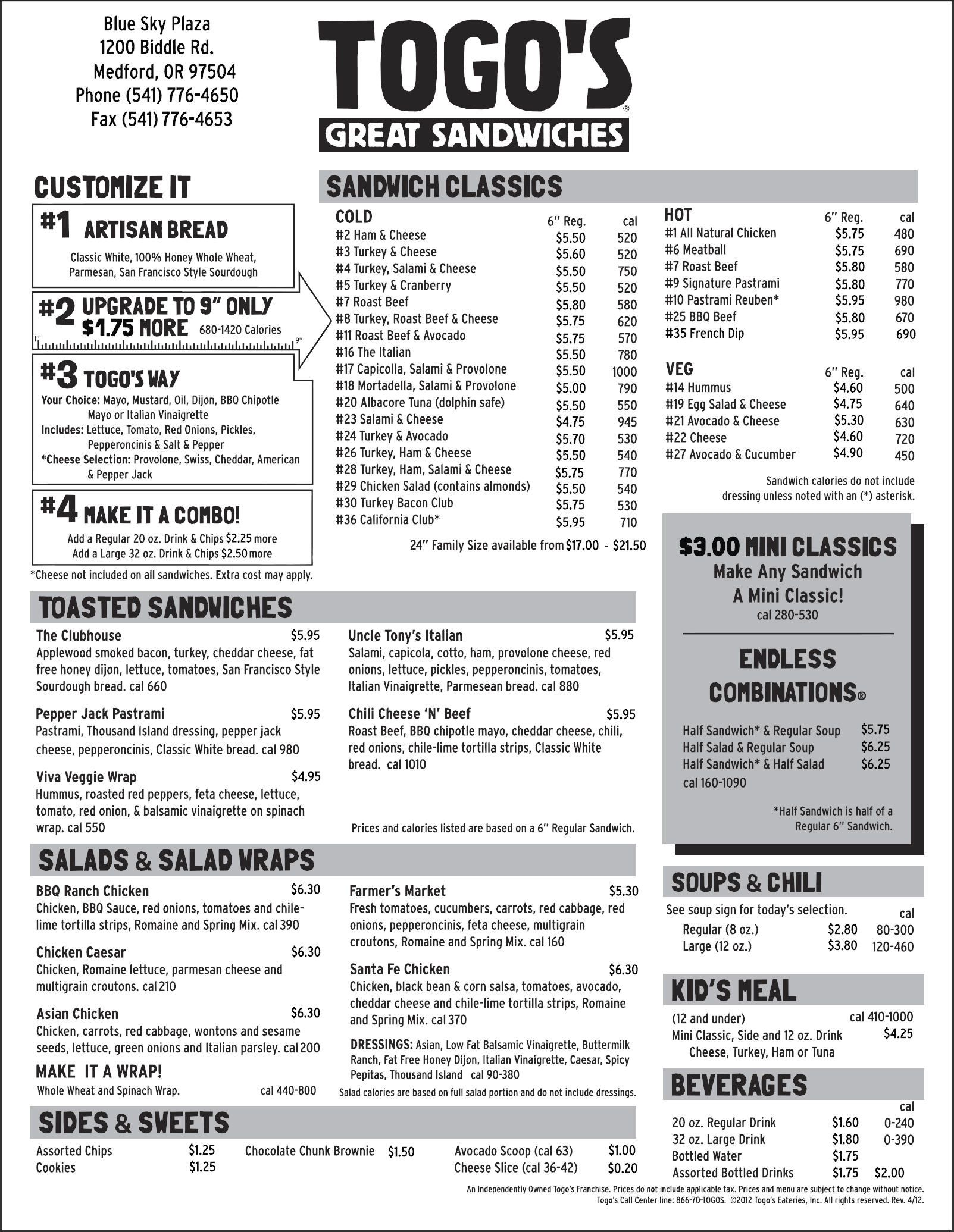 TogoS Medford Menu  TogoS Food    Menu And Food