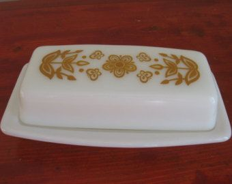 Vintage Pyrex Covered Butter Dish in the Butterfly Gold Pattern