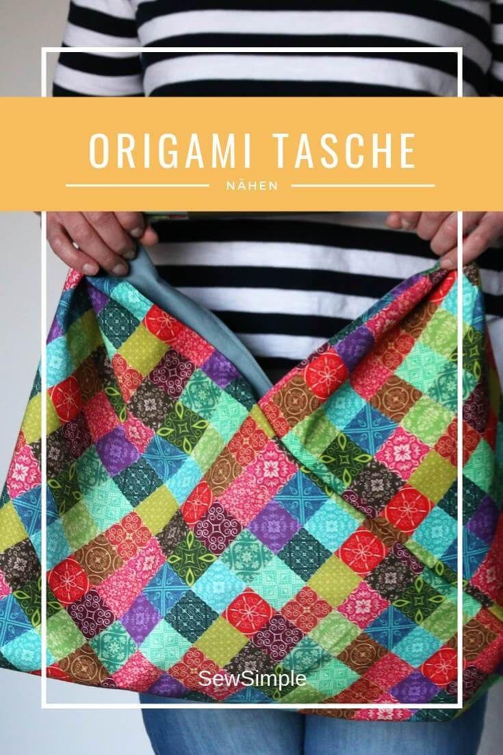 Origami Tasche nähen | Schnelle Anleitung für eine Origami-Bag #origamianleitungen