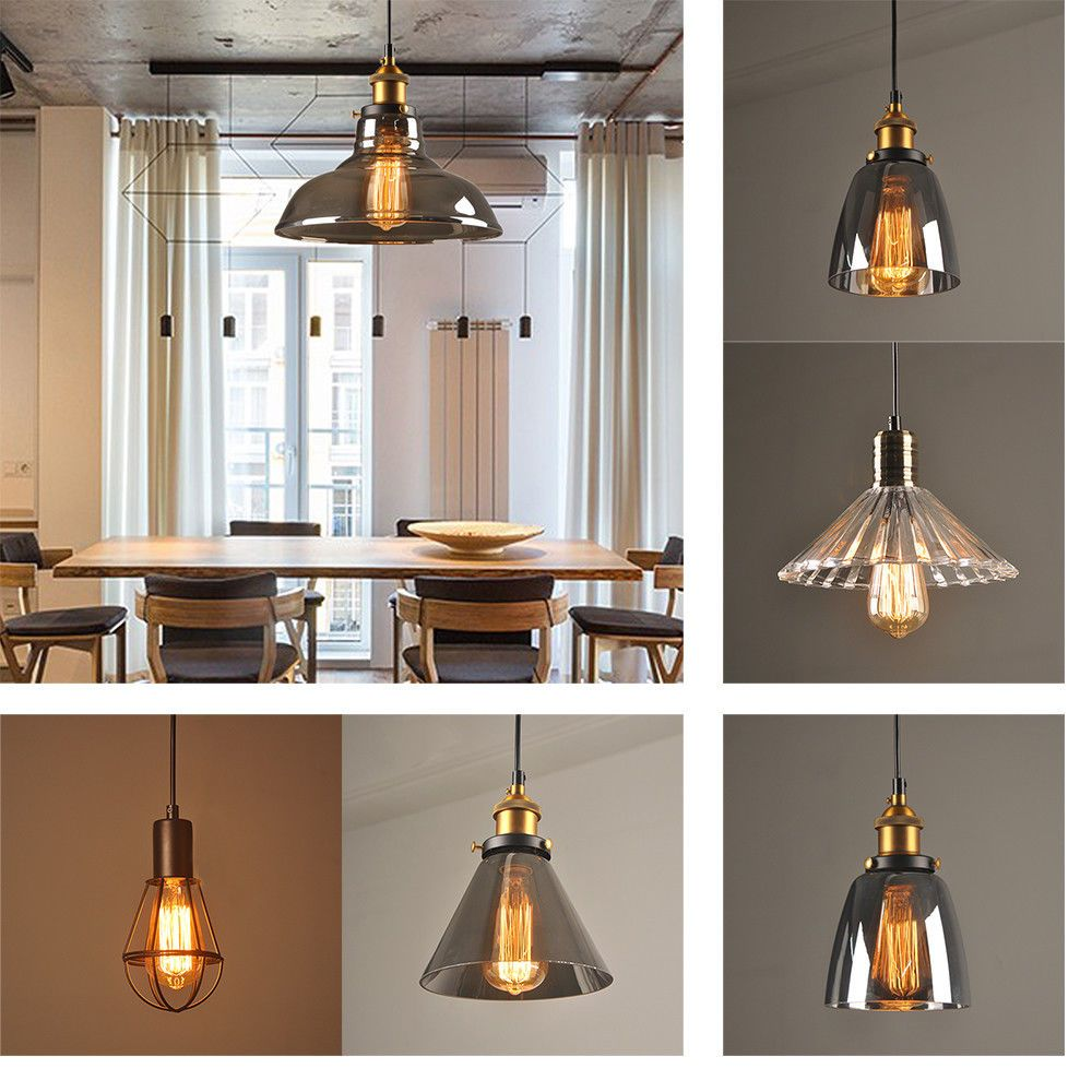 E27 modern vintage industrial retro loft glass ceiling lamp shade e27 modern vintage industrial retro loft glass ceiling lamp shade pendant light ebay mozeypictures Image collections