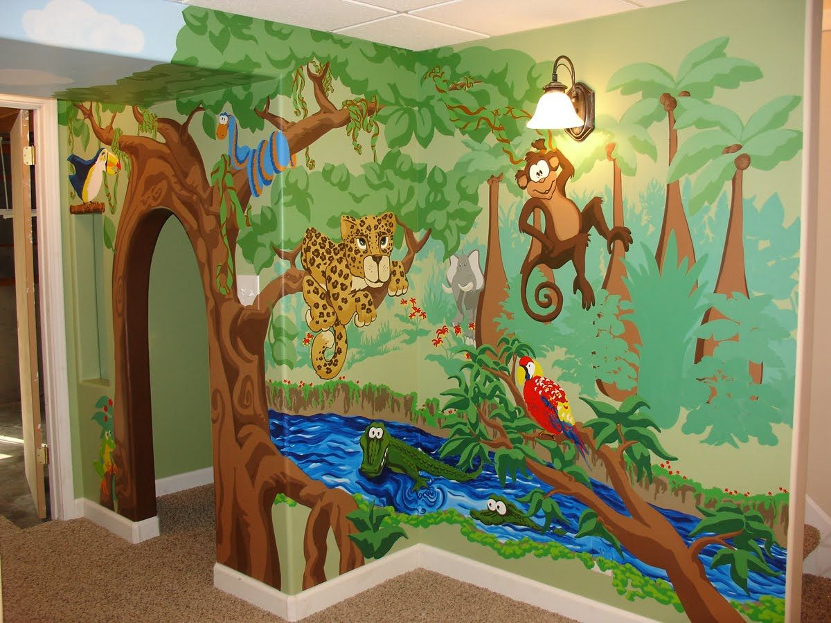 Beautiful Playhouse With Whimsical Jungle Mural Kids Decor In 2019