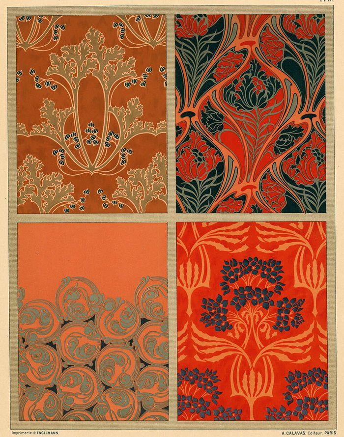 art nouveau motifs d coratifs tenture etoffe j pilters d co original 1901 motifs pinterest. Black Bedroom Furniture Sets. Home Design Ideas