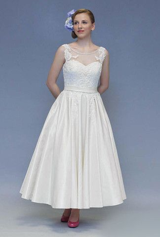 Retro tea length wedding dress with lace appliqué and illusion neckline. – FairyGothMother