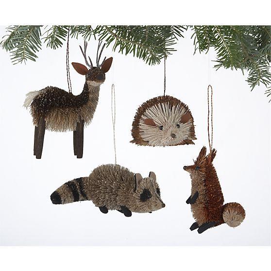 Set Of 4 Buri Woodland Creature Ornaments In Christmas Ornaments Crate And Barrel Christmas Ornaments Woodland Christmas Xmas Ornaments