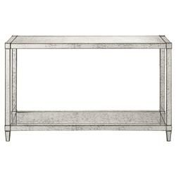 High Quality Thalia Regency Silver Art Deco Antique Mirror Console Table | Kathy Kuo Home