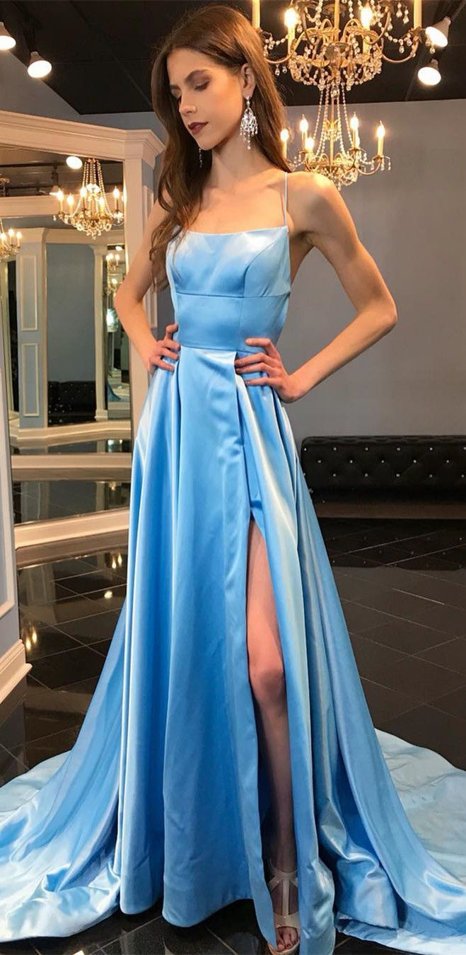 gorgeous blue long prom dress, 2018 prom dress, straps blue long ...