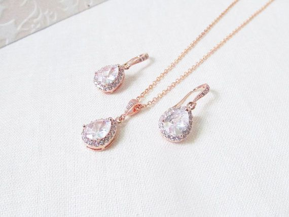 A very elegant rose gold bridal jewelry set that is not just for
