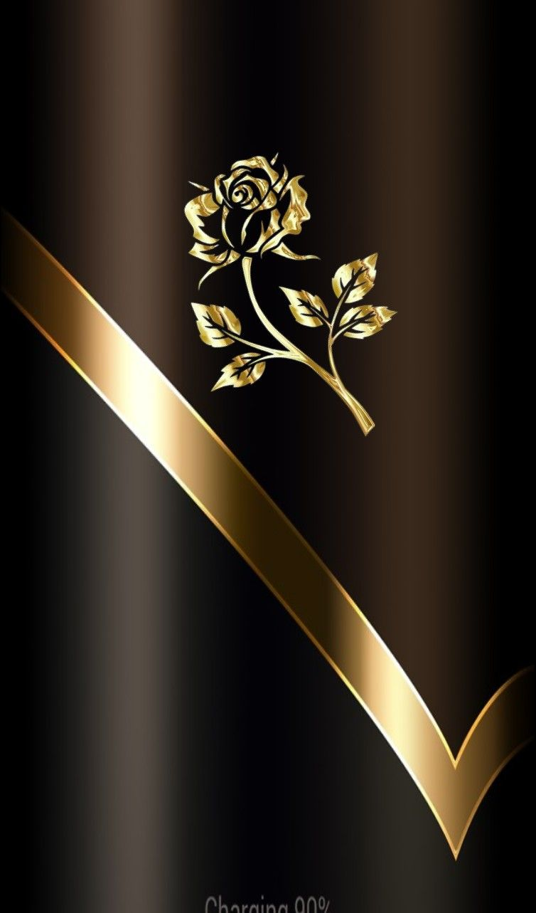 Elegant Gold Rose Wallpaper By Artist Unknown Gold
