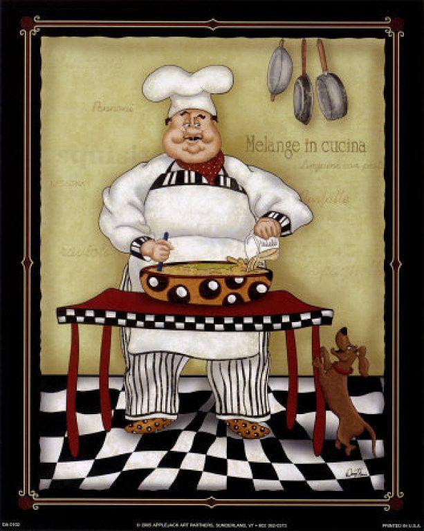 Stirring chef by dena marie art print - Laminas para cuadros de cocina ...