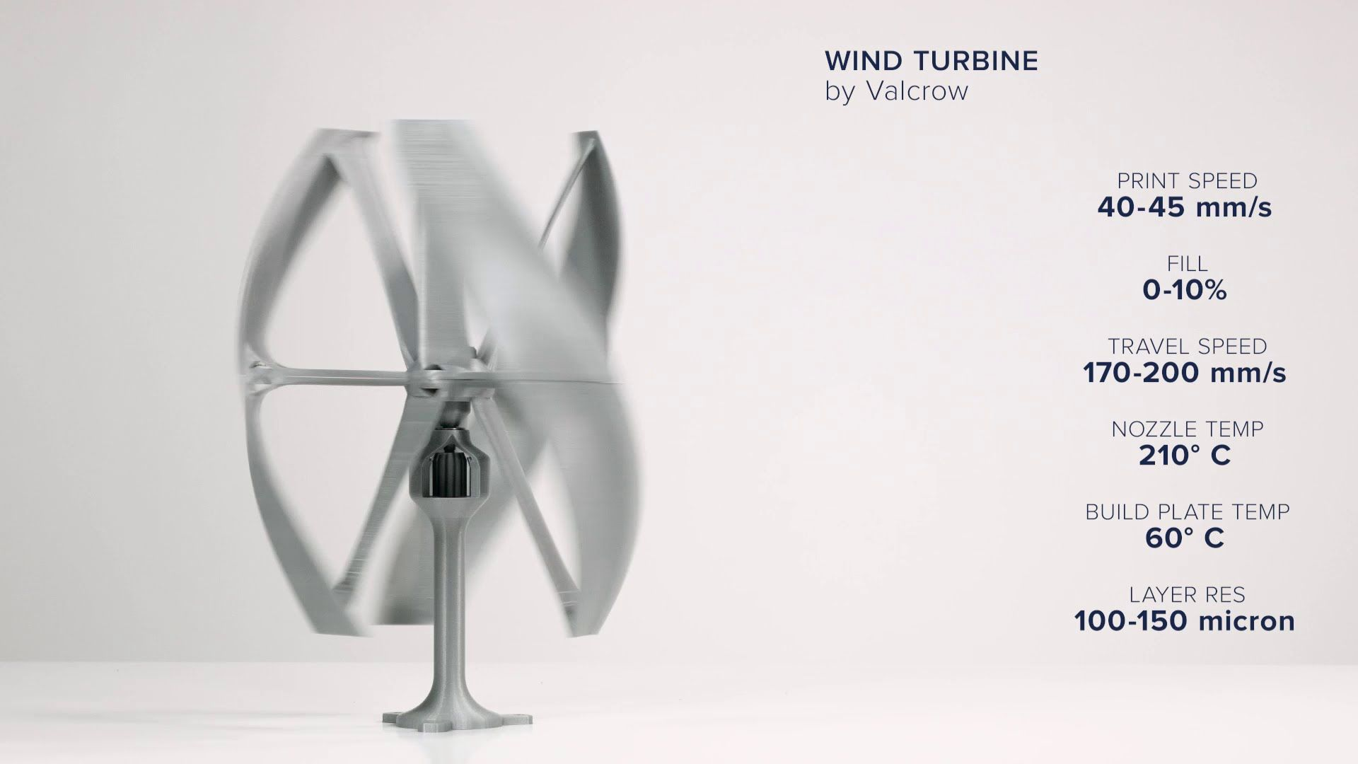 Wind Turbine by Valcrow Ultimaker 3D Printing Timelapse