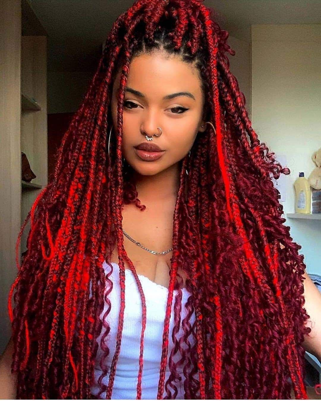 Pin By Raquel Barbosa On Trenzas In 2020 Beautiful Braided Hair Braided Hairstyles Red Box Braids