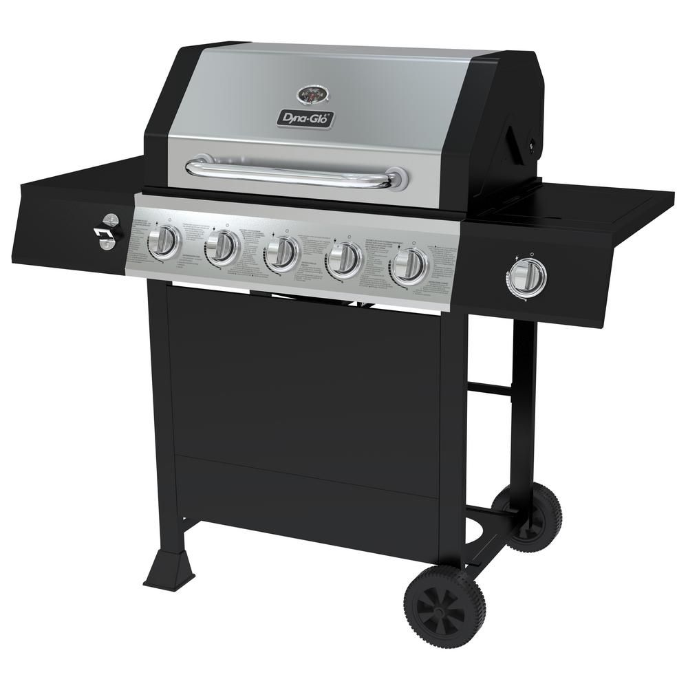 Dyna-Glo 5-Burner Open Cart LP Gas Grill in Stainless ...