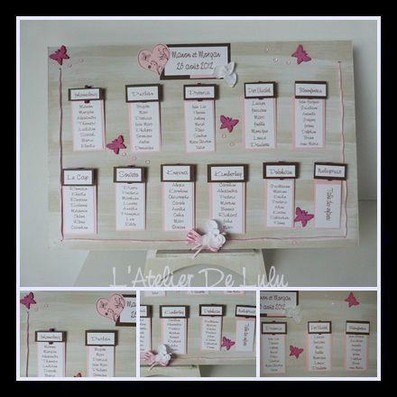 plan de table papillons pur mariage scrap papier. Black Bedroom Furniture Sets. Home Design Ideas