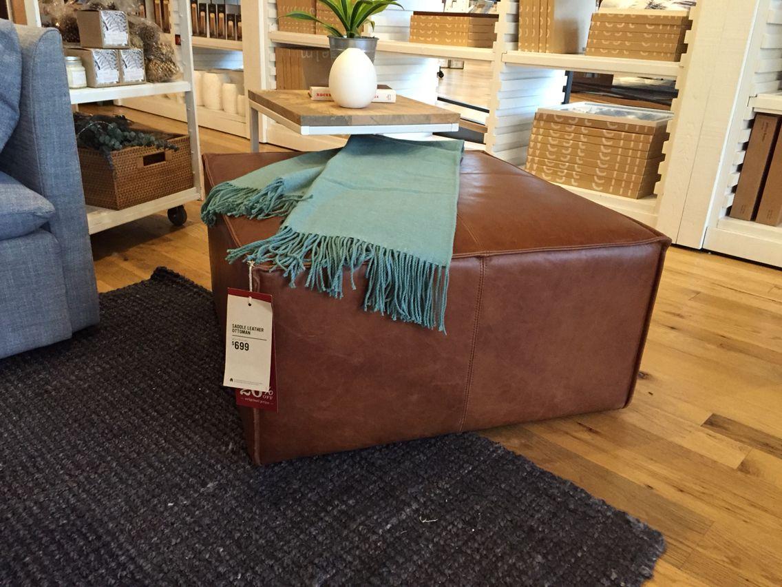 West Elm Saddle Leather Ottoman $699