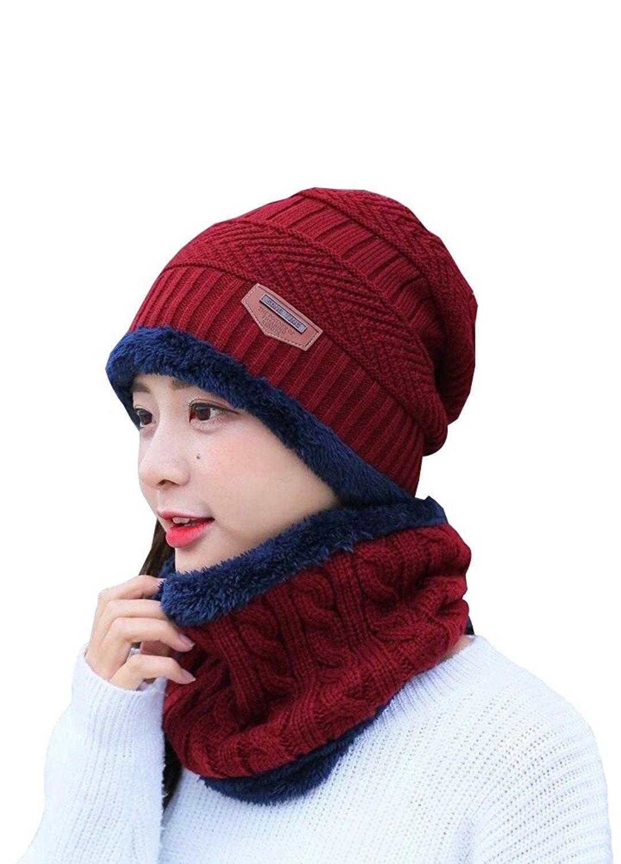 876c15ee520 Unisex Winter Knitted Cap Warm Beanie Hat With Neck Gaiter - Women ...