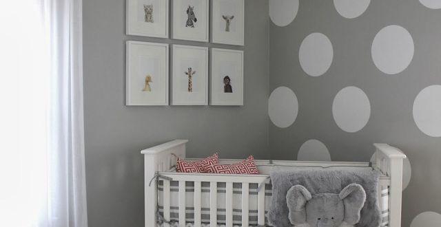 wandfarbe grau und wand streichen muster weiße punkte für