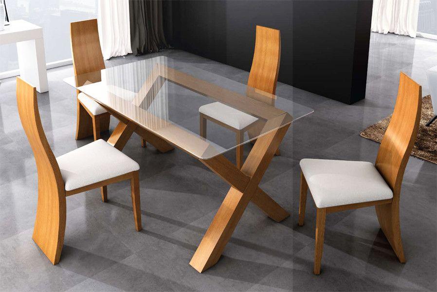 Mesa de comedor cruceta y tapa de cristal fija - pino en ...