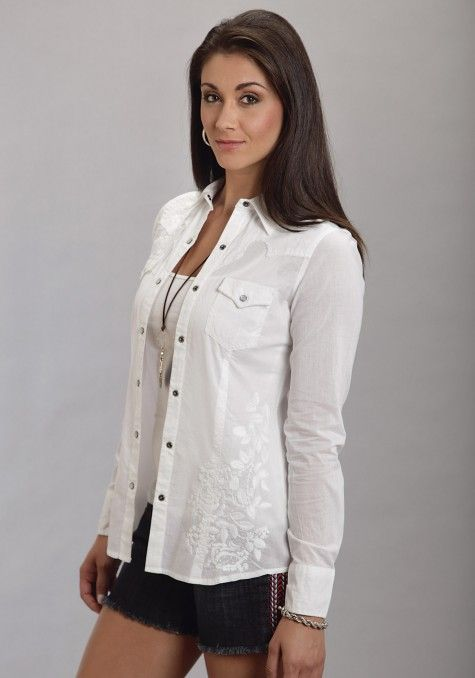 Stetson® Ladies White Cotton Lawn Embroidered Long Sleeve Western ...