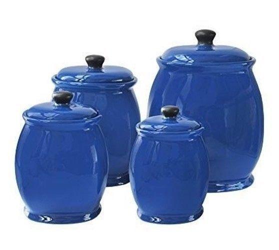 kitchen canister set blue ceramic food storage jars 4 piece with