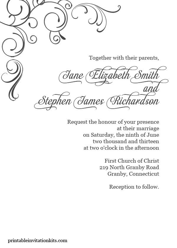 Free Blank Wedding Invitation Templates Printables