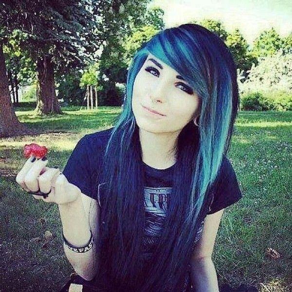 Pretty Emo Girl Red Flower Cool Hair Blue Black Cute