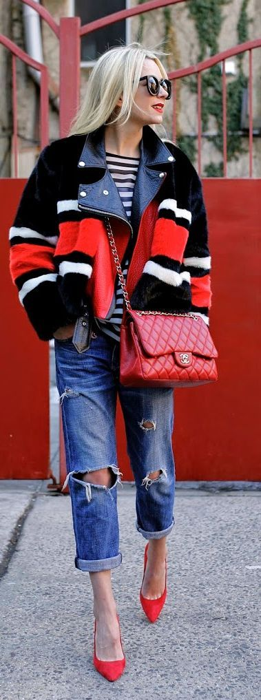 Red Accent Winter Outfit by Atlantic - Pacific