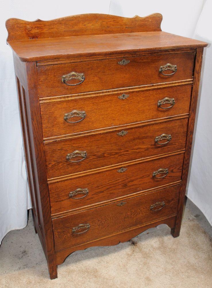 Antique Larkin Co Eastlake Oak Chest Of Drawers Antiques Vintage Furniture Oak