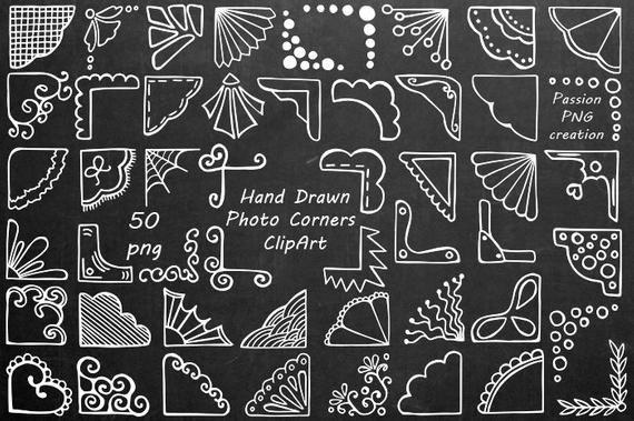 Weiße Hand gezeichnet Foto Ecken Clipart, Doodle-Ecken-Clip-Art, Foto-Overlay, PNG, für persönlichen und kommerziellen Gebrauch #allwhiteparty