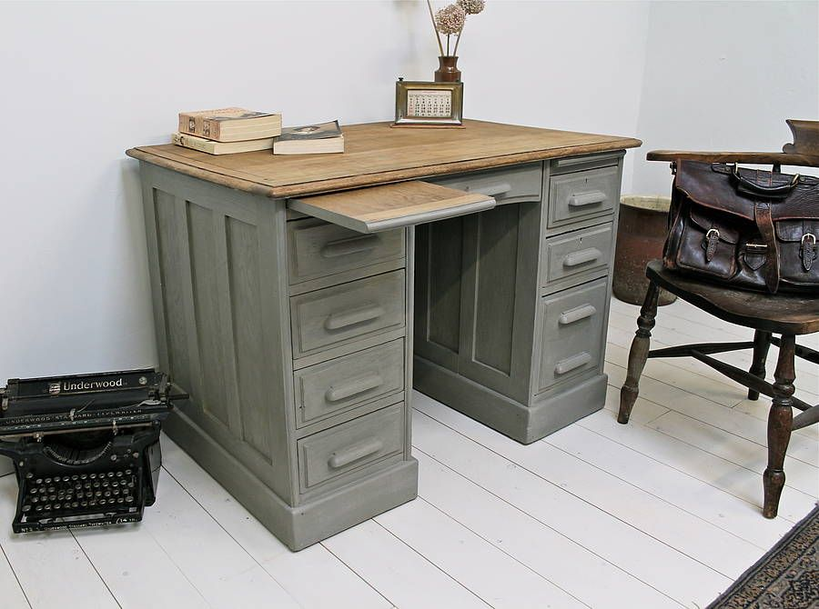 Painted Desk antique victorian painted oak office desk | vintage mirrors