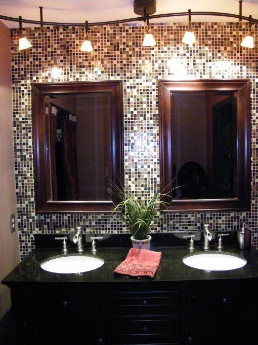 Bathroom Backsplash so glamorous! bathroom backsplash - love the white sinks with