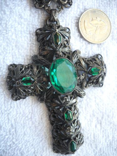 RARE Finest Joseff of Hollywood Large Ornate Green Stone Cross Necklace Look