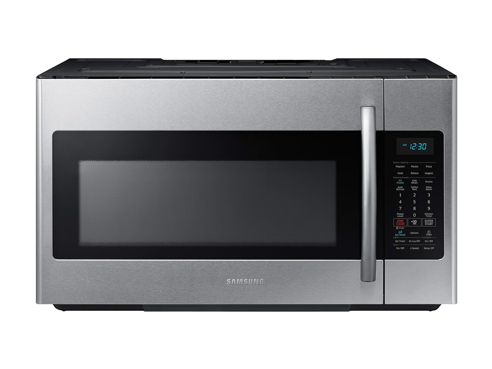 Samsung 1 8 Cu Ft Over The Range Microwave With Sensor Cooking In Fingerprint Resistant Stainless Steel Microwave Over Range Microwave Microwave Oven