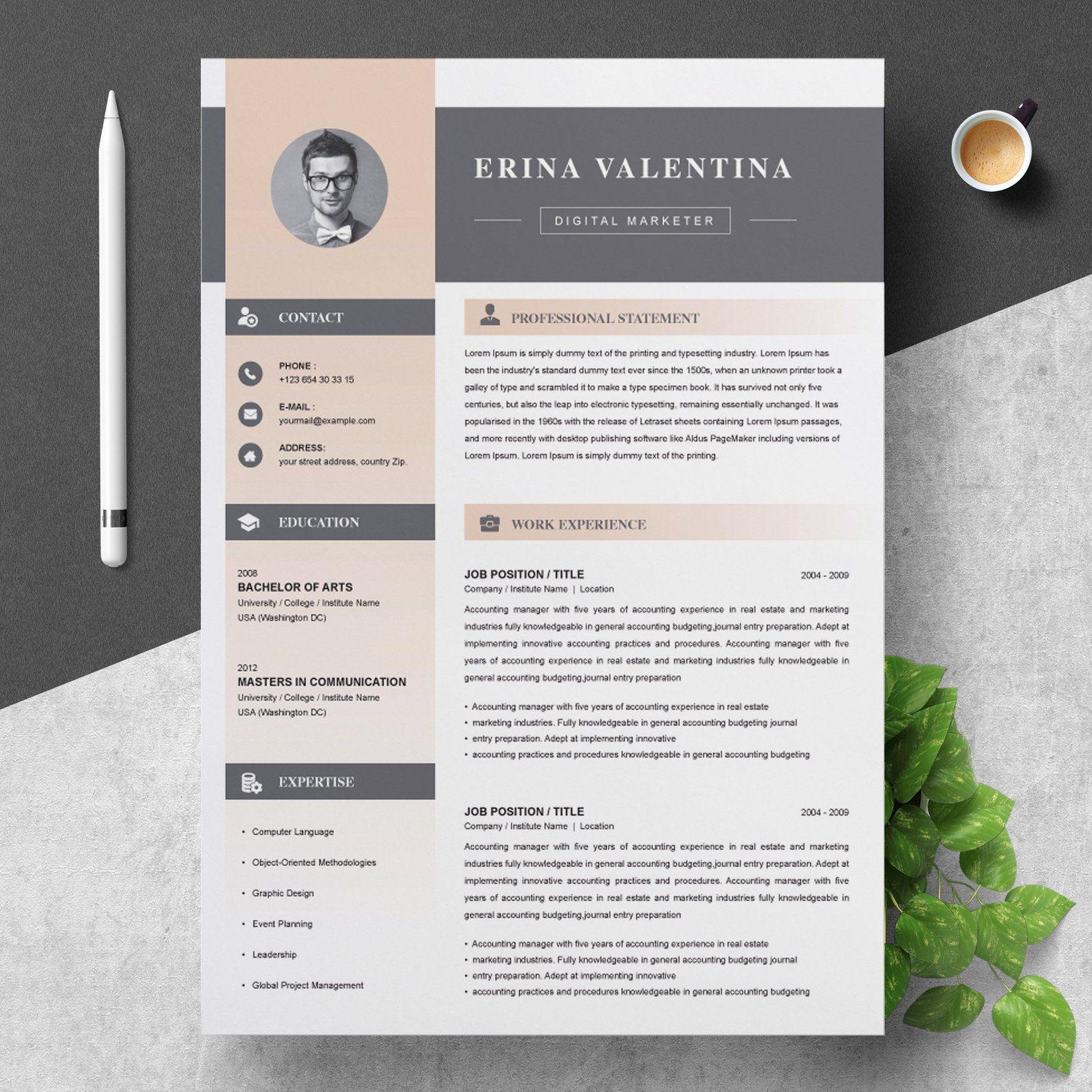 Resume Cv Template With Cover Letter Etsy Resume Design Cv Template Resume Cv