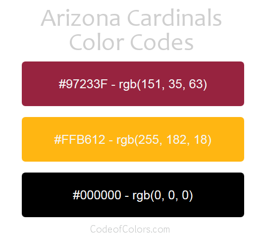 Arizona Cardinals Team Color Codes  Nfl Team Colors