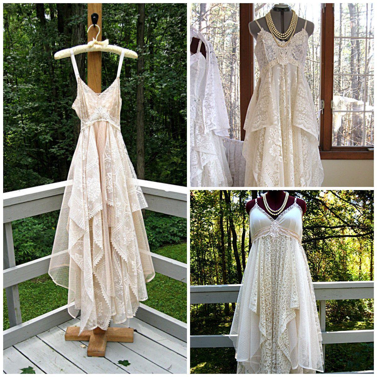 Reserved for teresa empire waist tattered gypsy boho wedding dress
