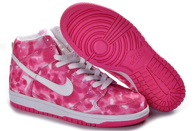 uk availability 525c3 e2b24 Nike Sb Dunk High 2012 Cut Womens Shoes Canvas Paint Splatter Deep Pink  White